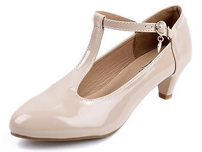 409ba945c446 AgeeMi Shoes Femme Escarpins Femme Talon Moyen Boucle Bout Round Chaussures Escarpins  Petit Talon Chaussure Vintage