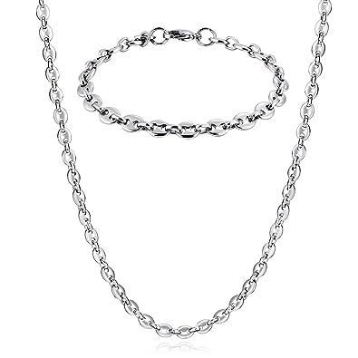 64067cdcc89 Knsam Bijoux Parure Collier et Bracelet Homme Acier Inoxydable Maille Ancre  Raffiné Argent Cadeau Homme Anniversaire