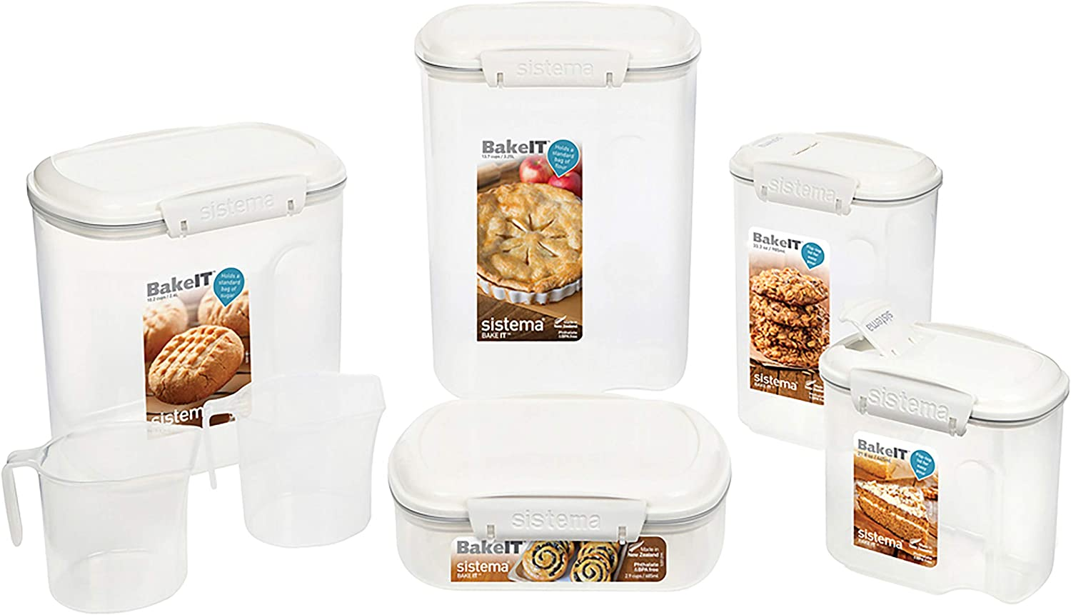 Sistema | 5 Food Containers with Lids | 2 Cups BPA-Free | for Cereal, Flour, Pasta & More Baking Pantry Storage Set, Clear