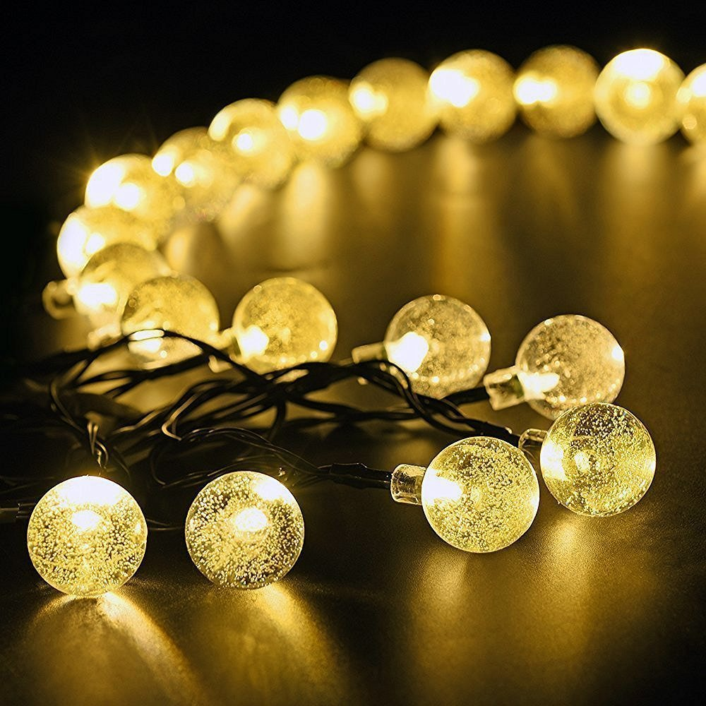 marsboy Solar Powered Fairy String Lights 8 Modes With 30 LED Crystal Balls, Indoor/Outdoor Globe Starry Lights For Garden, Path, Party, Wedding, Bedroom, Yard Deck Decoration (Warm White, 22.9ft) MB16091201HK