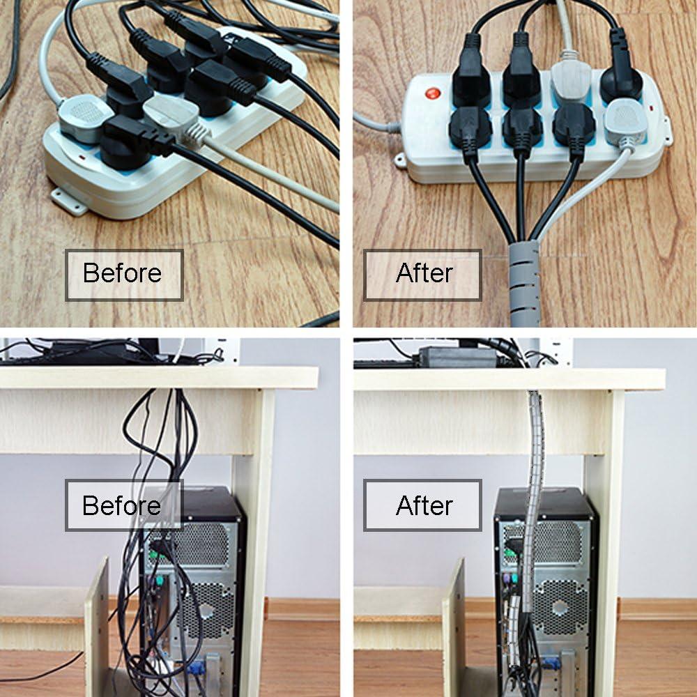 mangueras para TV iM-UK-134 Negro cine en casa iMangoo ordenador Manguera de cable flexible de 20 mm x 1,5 m organizador de cables