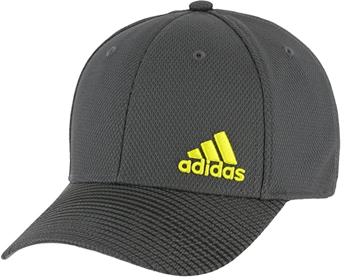 2c4a89aa adidas Men's Release Stretch Fit Structured Cap, Onix/black/shock yellow,  ...