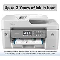 Impresora de inyección de tinta Brother todo en uno a color con cartuchos de tinta, inalámbrica, dúplex e impresión móvil, reposición de Amazon Dash habilitada, New Model: MFC-J6545DWXL (inc. 2 years of ink), Blanco, Una talla