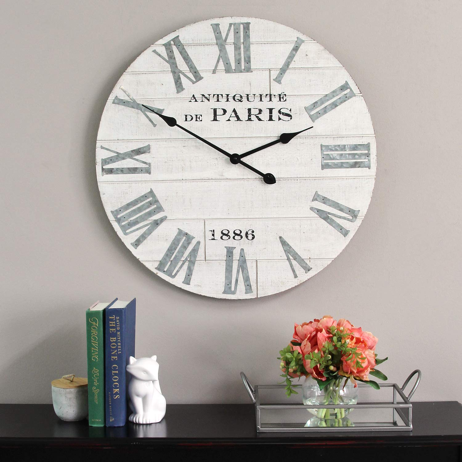 Stratton Home Decor  Dropship us home SUHQX Stratton Home Decor Adrianna Wood Clock Wall Dcor White
