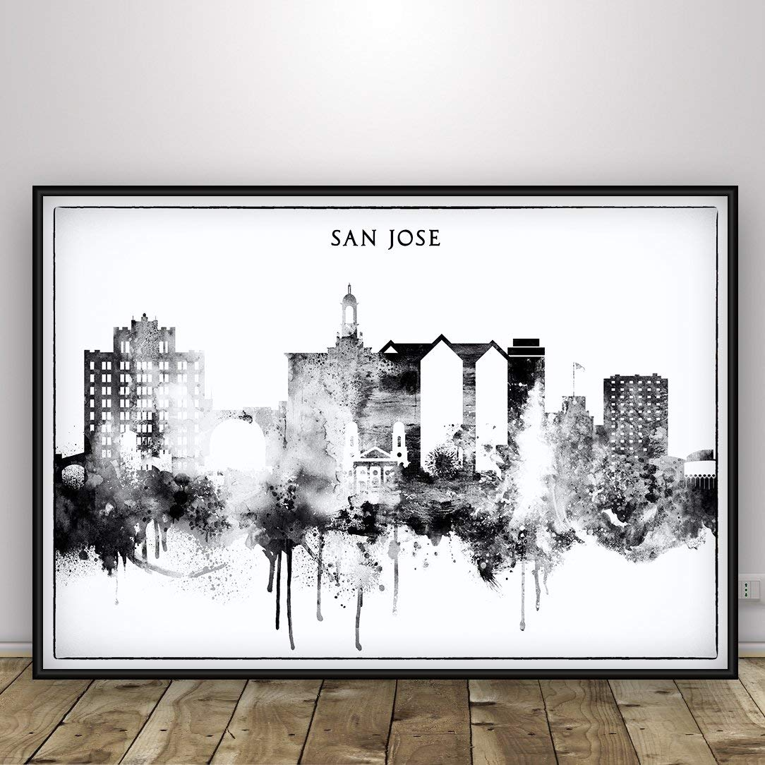 San jose black and white city print san jose skyline poster living room decor ideas california cityscape san jose wall hangings and prints