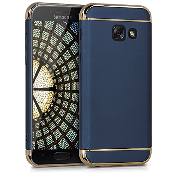 newest 569ca fa116 kwmobile Case for Samsung Galaxy A3 (2017) - Shockproof Protective Hard  Case Back Cover with Chrome Frame - Dark Blue