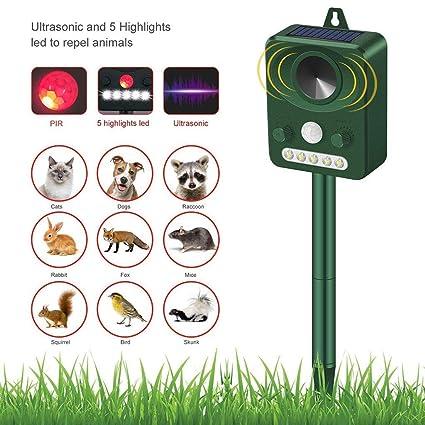 DZW Animal Ultrasónico Y Repelente De Plagas - Sensor De Movimiento Y Luz Intermitente, Impermeable