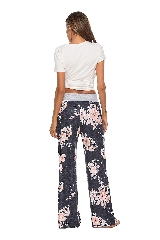LOCUBE Women/'s Casual Floral Print Wide Leg Palazzo Lounge Pants Drawstring Long Pajama Pants