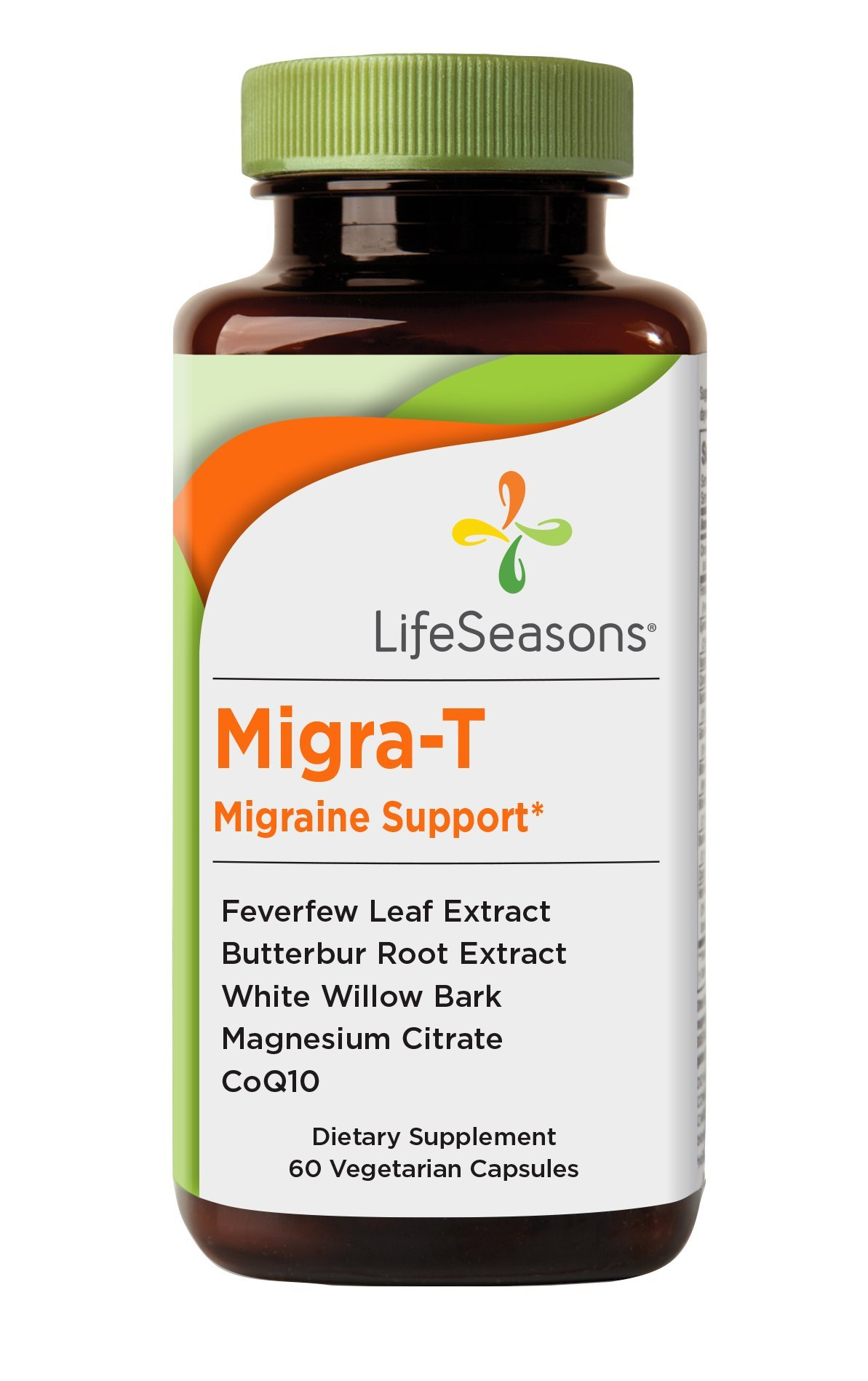 Migra-T - Migraine Prevention Supplement - Natural Migraine Pain Relief - Reduce Light, Sound, and Odor Sensitivity - Contains Feverfew, Butterbur, and CoQ10 - LifeSeasons (60 Capsules)