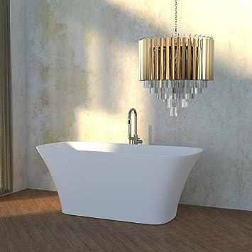 Bañera independiente | bañera de pie | mármol fundido/mineral fundido / superficie sólida | blanco mate | (Malino)