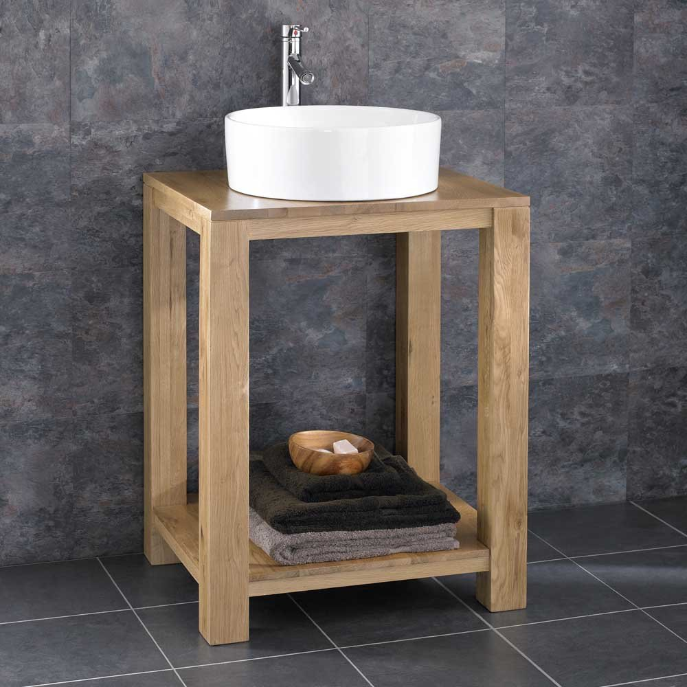 Clickbasin Cube 60cm Wide Solid Oak Minimal Bathroom Basin Washstand With  Sink: Amazon.co.uk: Kitchen U0026 Home