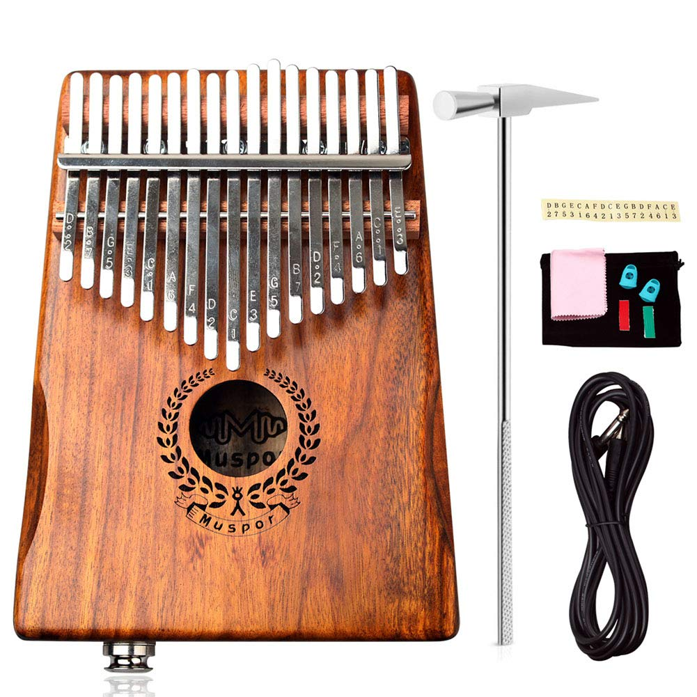 PROKTH Kalimba Thumb Piano 17 Keys, Portable Wood Finger Piano with Bag Cable for Kids Adult Gifts