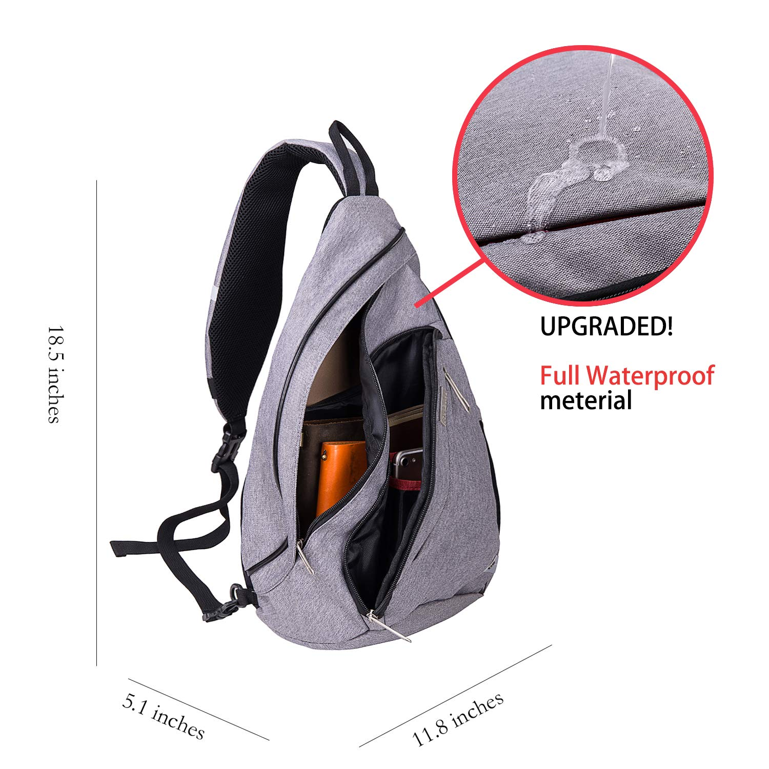 Upgraded RYOMI Sling Bag Canvas Crossbody Backpack for Women and Men Waterproof Lightweight Shoulder Chest Outdoor Bag for Travel Hiking Sport