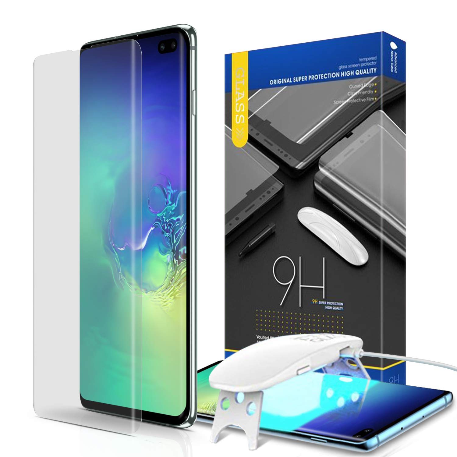 Galaxy S10 Plus Screen Protector, [SMAPP] Full 3D Curved Edge Tempered Glass for Samsung Galaxy S10 Plus (2019) - 2 Pack [Solution for Fingerprint Sensor on Glass] Liquid Installation
