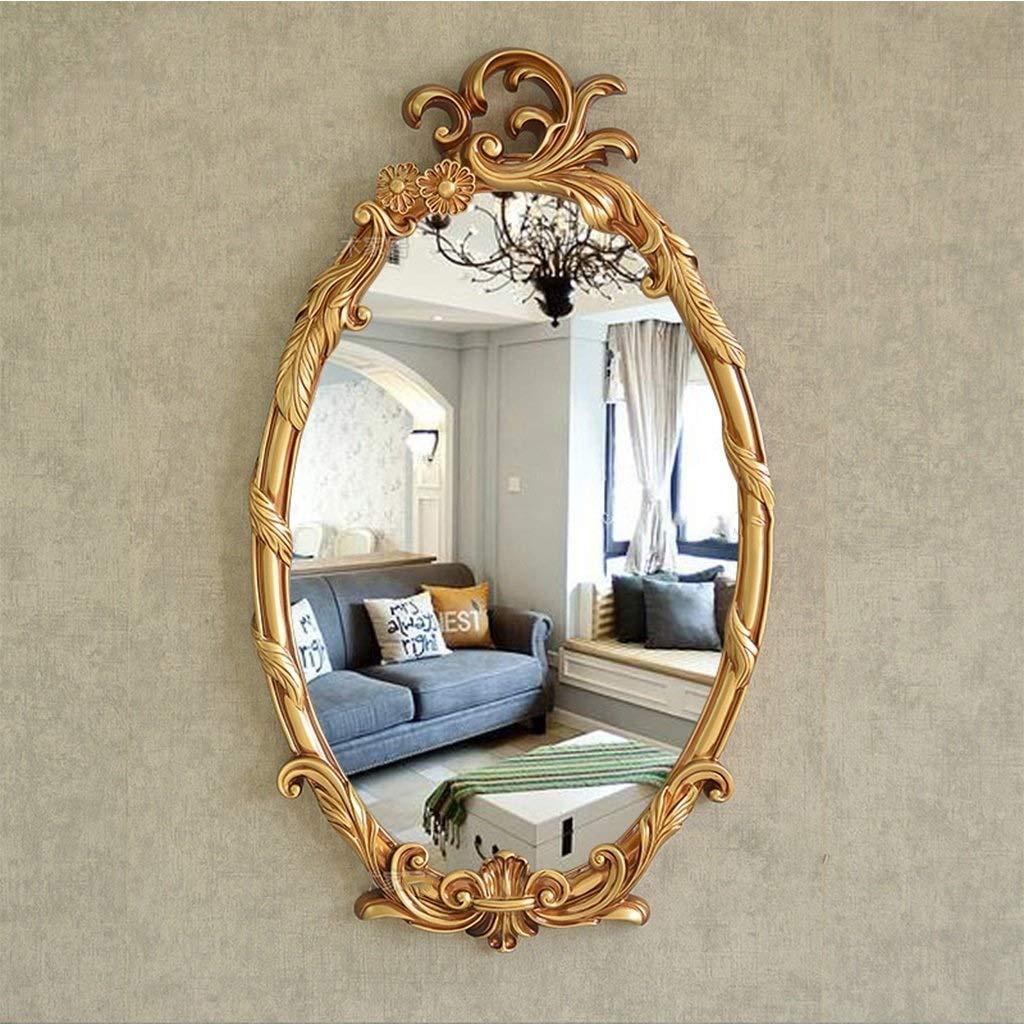 Antique gold XIUXIU Mirror Nordic Retro Living Room Background Decorative Mirror Bathroom Waterproof Vanity Mirror (color   Painted gold)