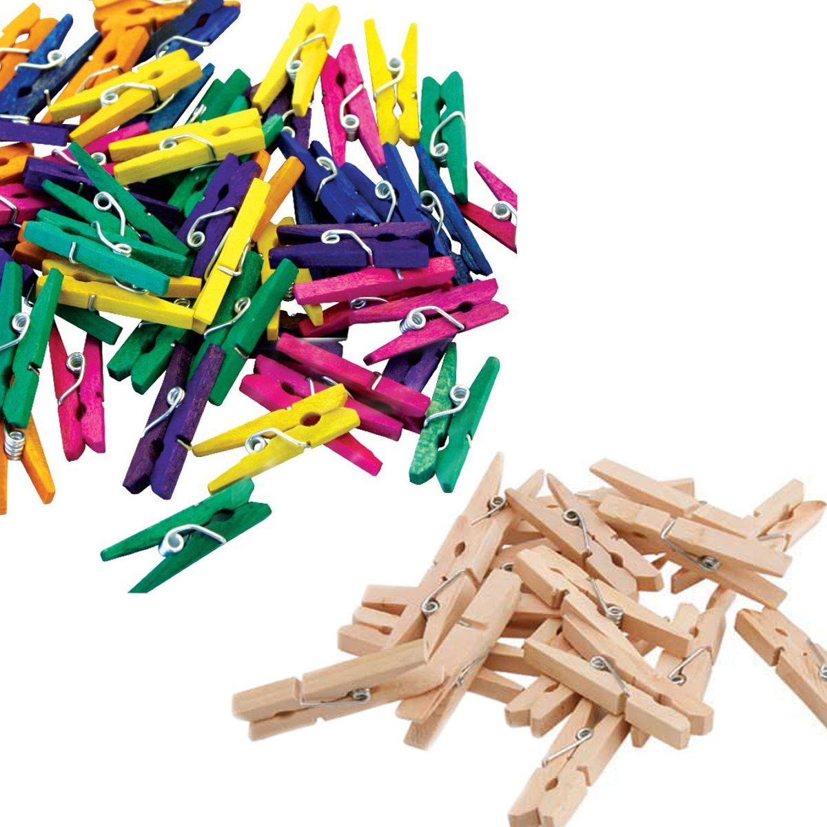 Comtechlogic® CM-4070 Wooden Coloured Mini Colour Craft Wedding Arts Crafts Colourful 2.5cm Mini Wooden Pegs - Ideal for Hanging Photos, clothes, kids arts and crafts (Natural)