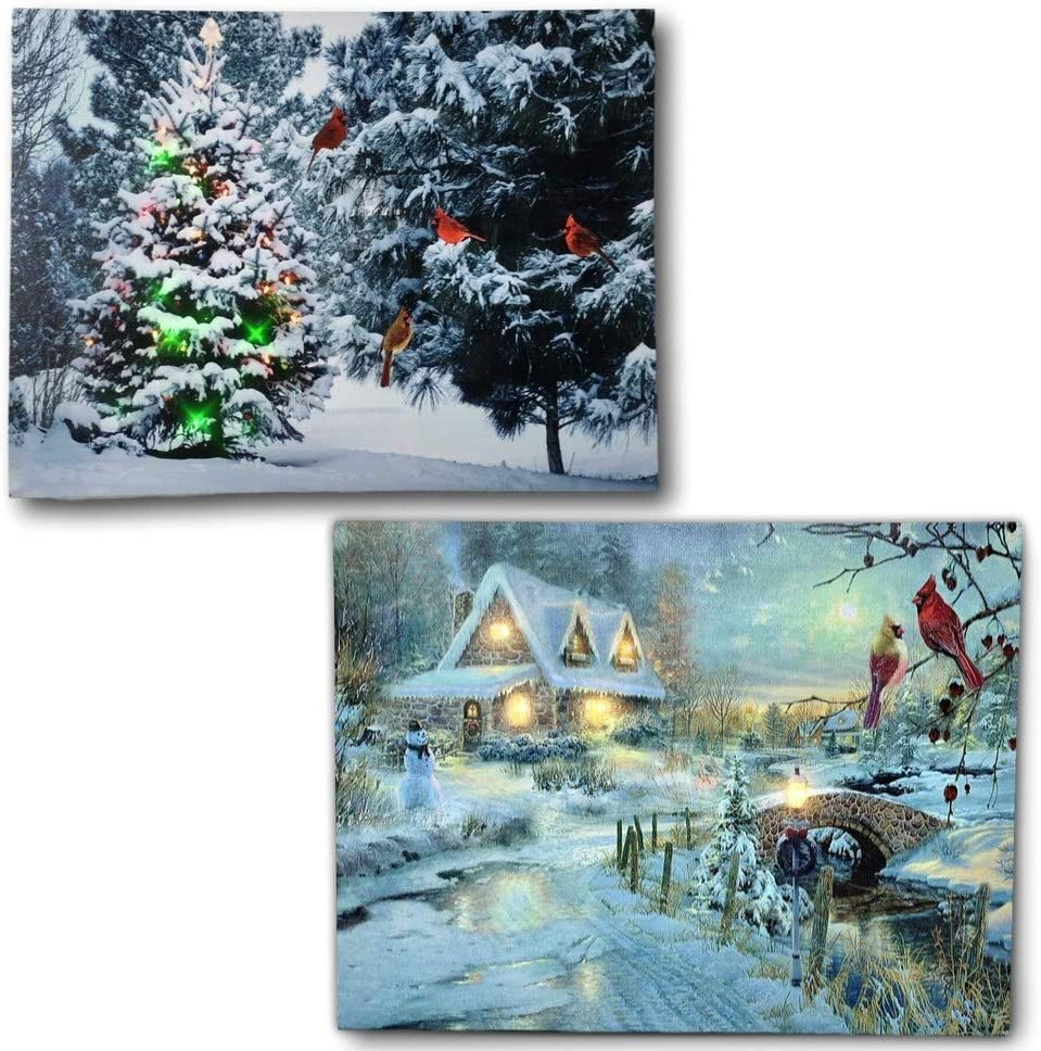 Winter Scene Canvas Print Set - 2 LED Wall Art Prints with Snow and Cardinals - Lighted Wall Art for Christmas