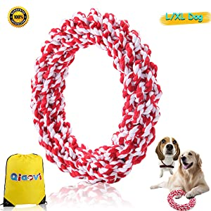 Qiaovi L/XL Dog Rope Toys, 100% Cotton Indestructible Big Dog Chew Toys for Large Dogs Aggressive Chewers,Puppy Training Toy for 100Lbs Large Breeds