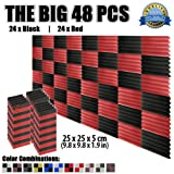 Super Dash (48 Pieces) of 25 X 25 X 5 cm Wedge Black & Red Acoustic Soundproofing Foam Studio Treatment Wall Panel Tiles DD1134
