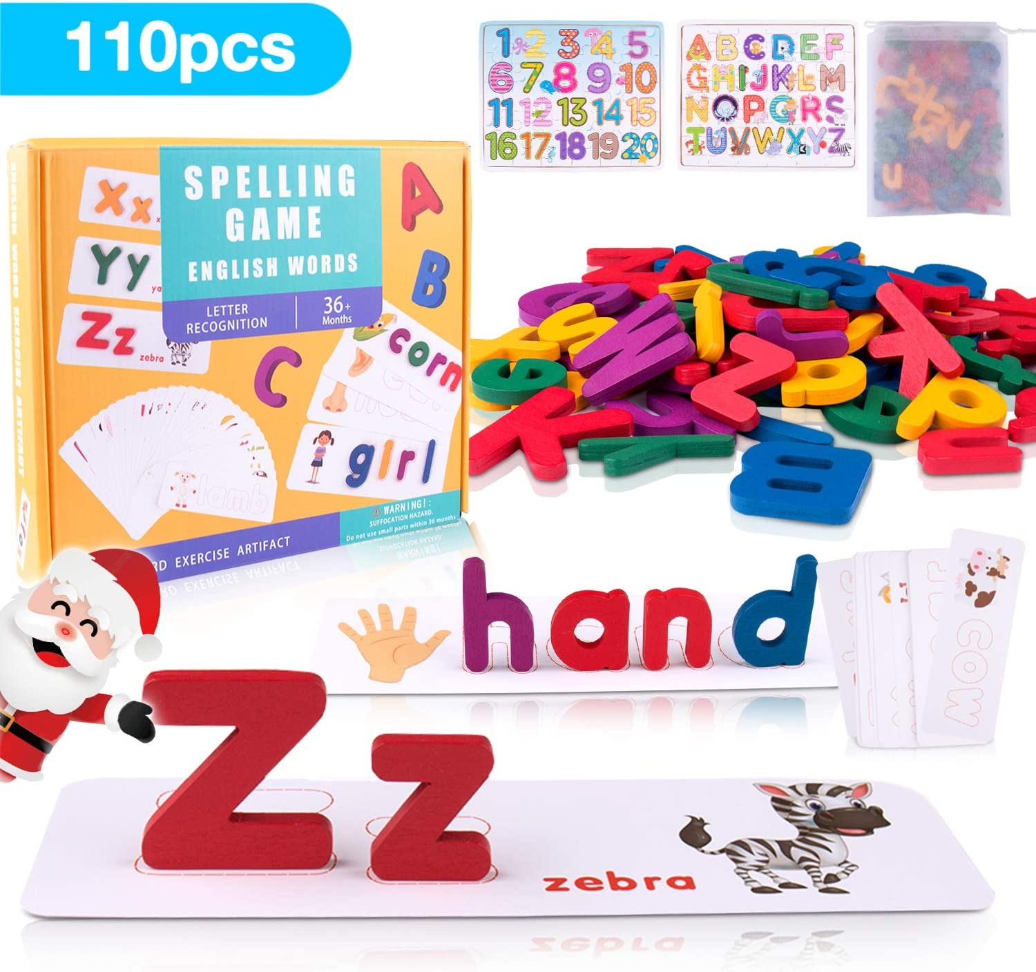 ABC Wooden Alphabet Number Learning Puzzles, OMEW Letter Matching Spelling Game Sight Words Flashcard with Upper and Lowercase Kindergarten Homeschool Supplies Educational Toys for Toddlers Boys Girls