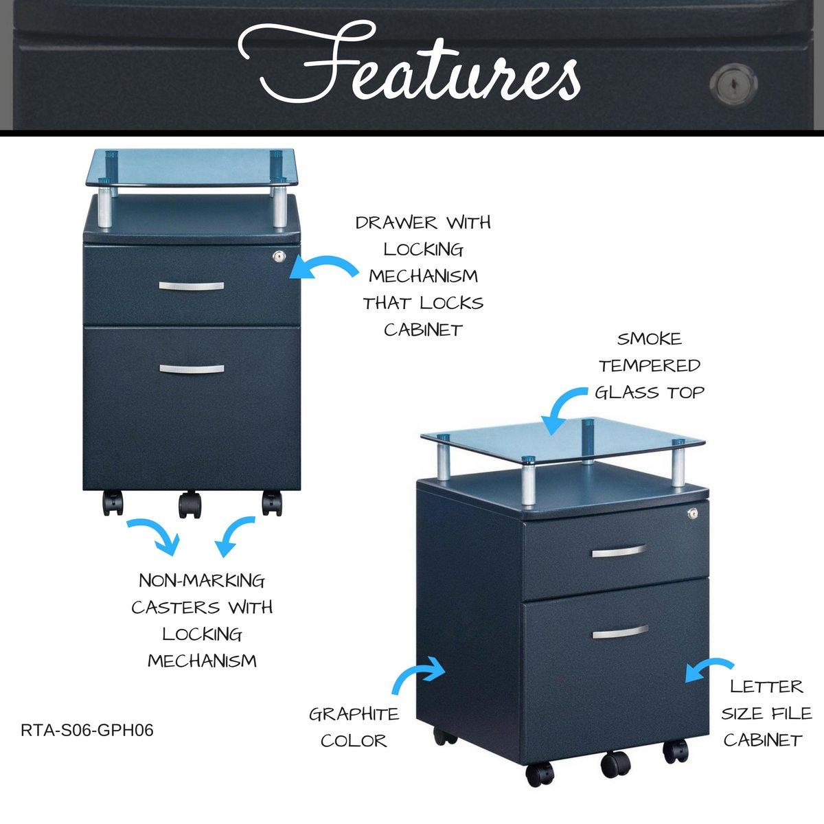 Techni Mobili Rolling Storage Cabinet with Glass Top, Graphite