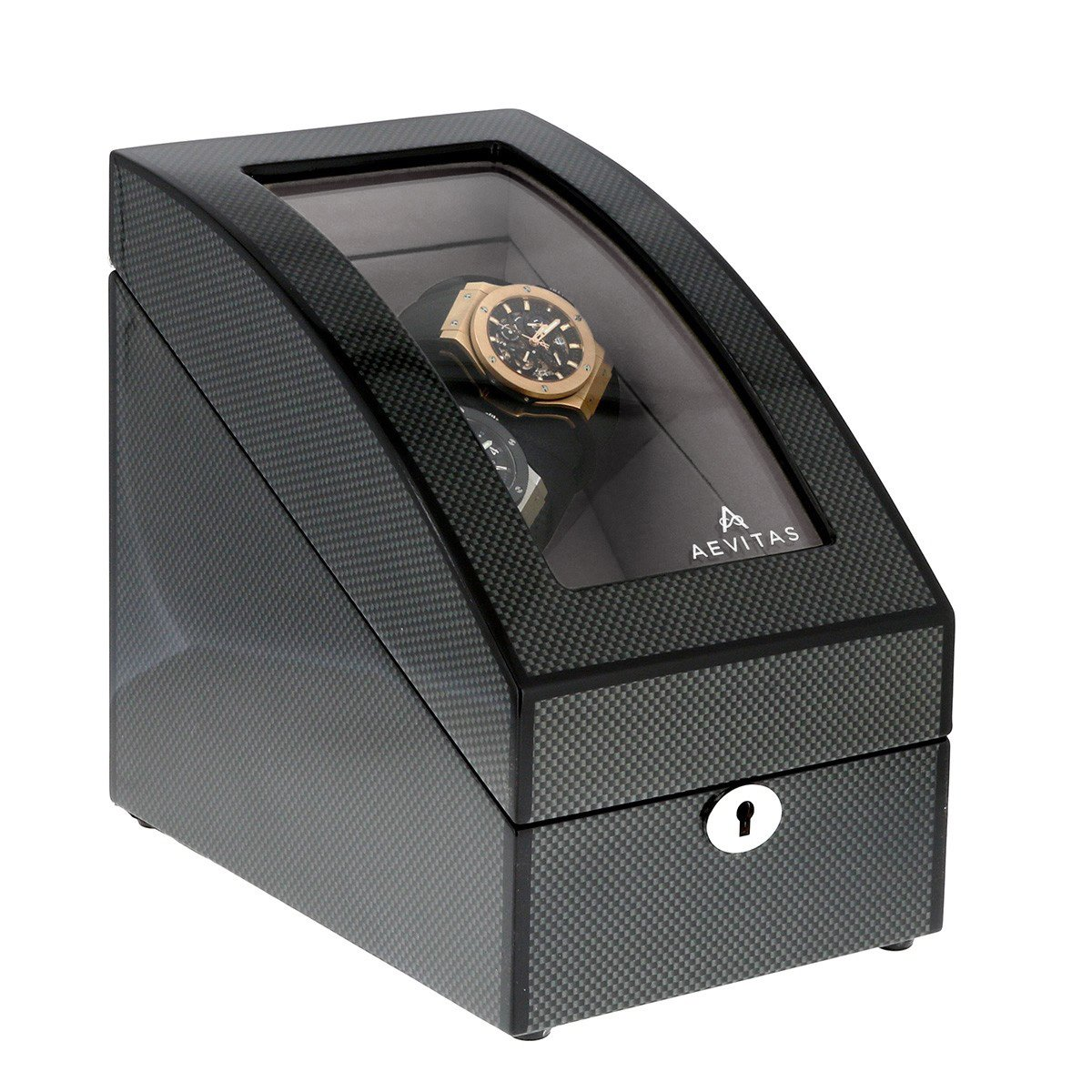 Dual Carbon Fibre 2 Watch Winder with LED Light and Storage for 2 Watches by Aevitas