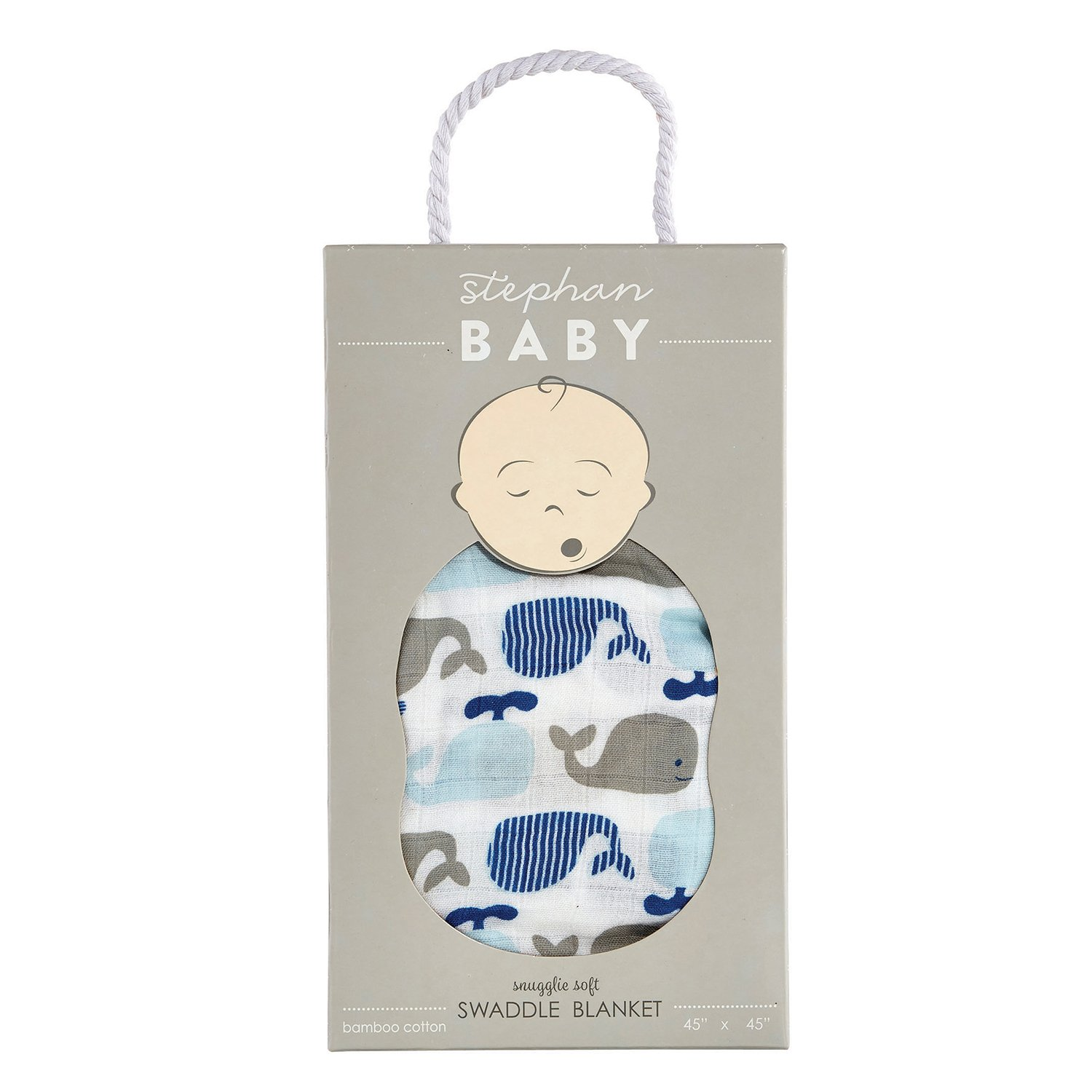 Stephan Baby Viscose Cotton Muslin Swaddle Blanket, Whales