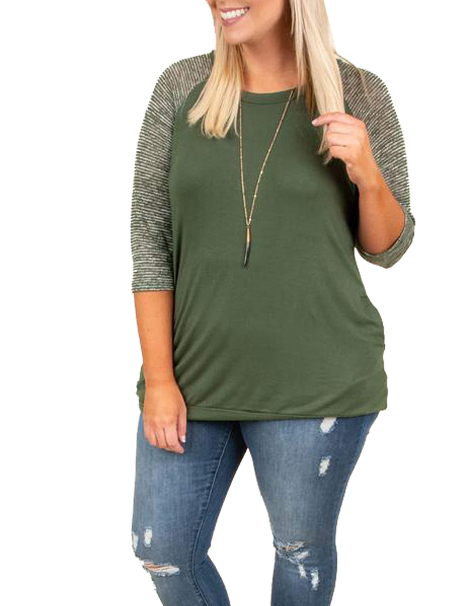 Rotita Women Raglan Sweatshirt Plus Size Striped 3/4 Sleeve Lightweight Casual Loose Pullover by Rotita (Image #1)