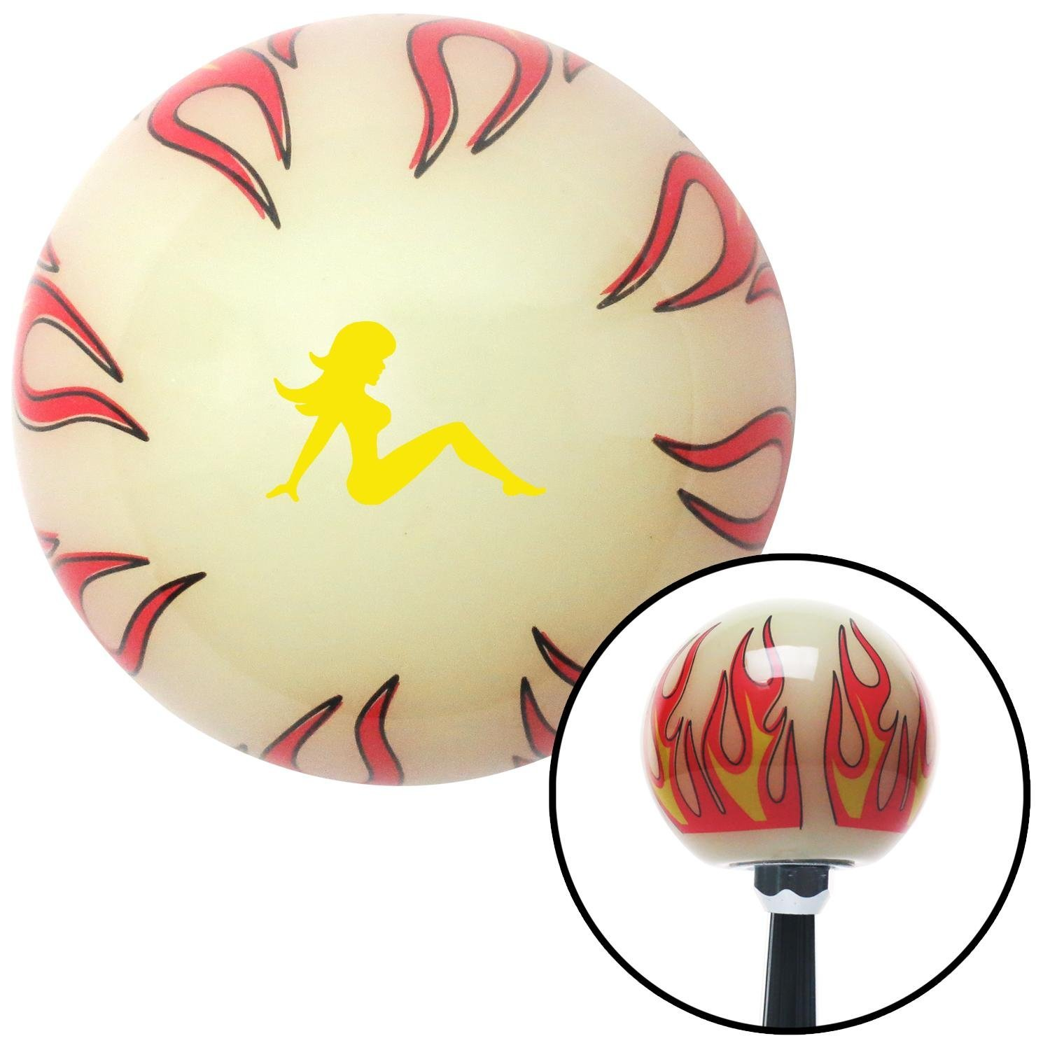 American Shifter 293368 Shift Knob Yellow Mudflap Girl Ivory Flame with M16 x 1.5 Insert