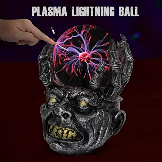ANQIA 4 Inch XL Evil Dragon Plasma Ball Lamp Touch Sensitive,Party Magical Electrostatic Red Color Crystal Ball for Halloween Christmas