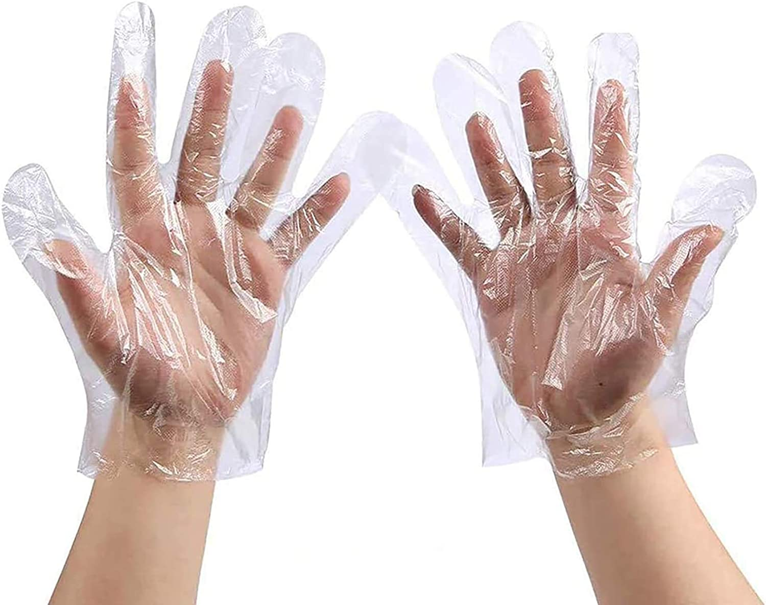 100 Pcs Disposable Latex Free Polyethylene Plastic Gloves, Food Handling for Cleaning, Cooking (Adult Size)