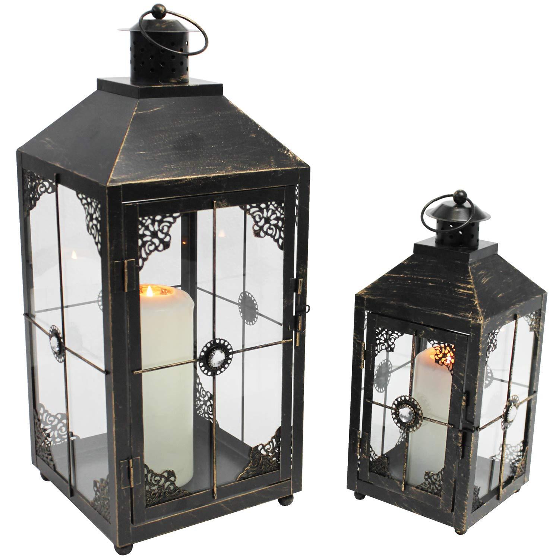 Laternen Set Windlicht Kerzenhalter H24 41cm Metall Gartenlaterne
