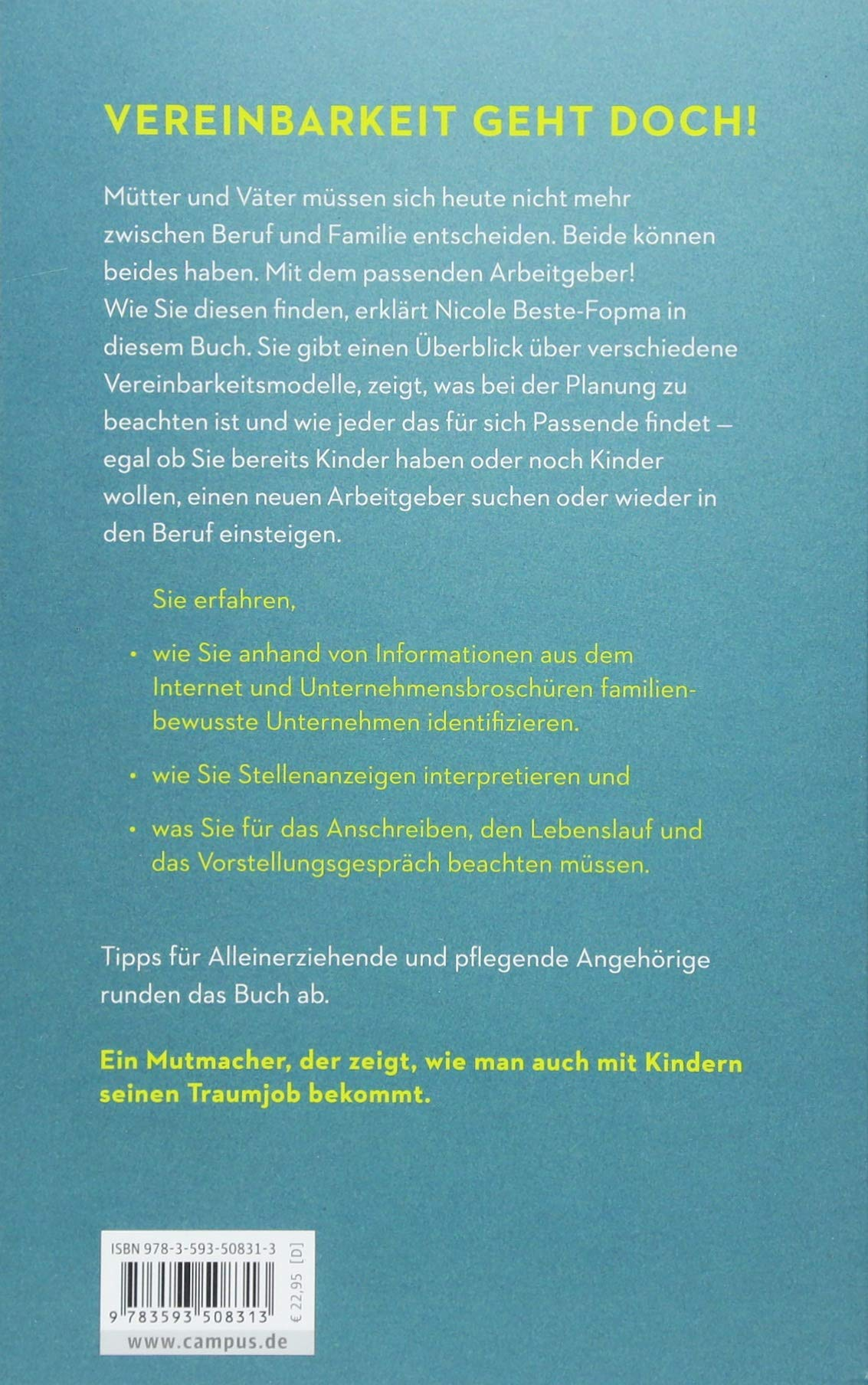 Beruf und Familie - Passt!: So finden Eltern den richtigen Arbeitgeber -  Nicole Beste-Fopma - Amazon.de: Bücher