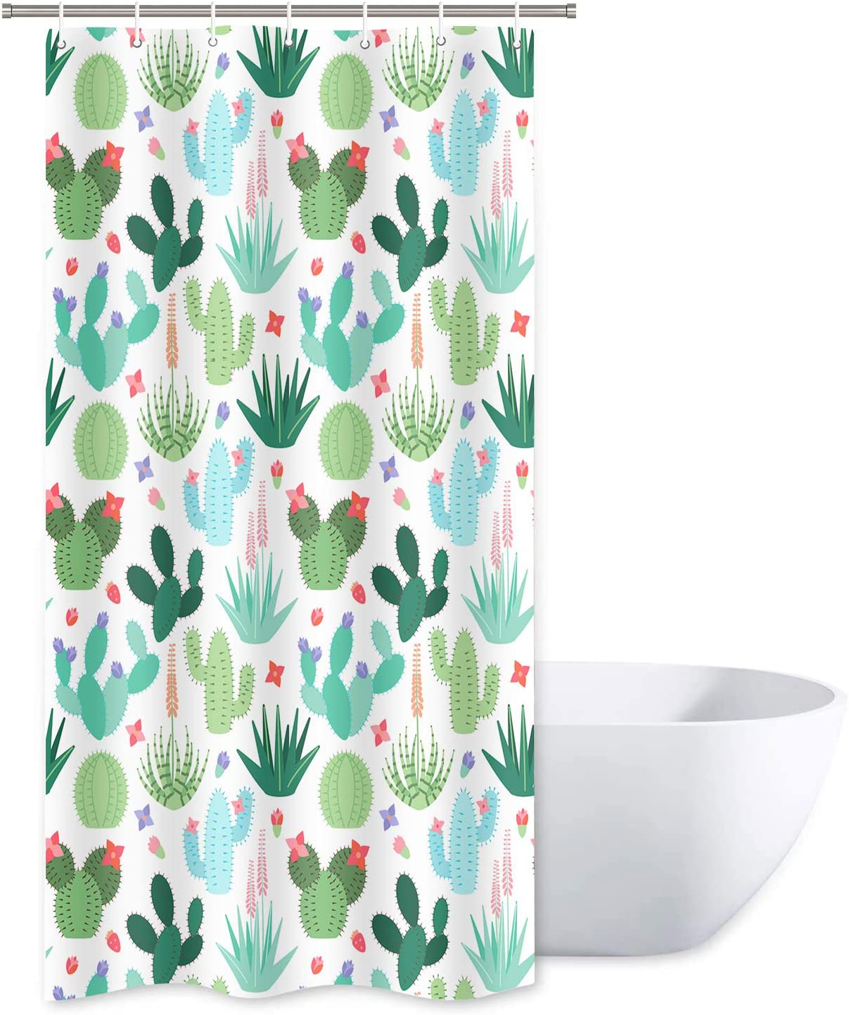 SDDSER Stall Cactus Shower Curtain Sets, Mexico Fiesta Garden Desert Plant Floral Small Bathroom Curtains, 36x72 inch with 7 Free Hooks, YLWYSD83
