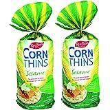 Real Foods Organic Sesame Corn Thins 5.3oz 2 Pack - Organic Golden Sun-Ripened Corn Cakes with Added Sesame - USDA Organic Sn