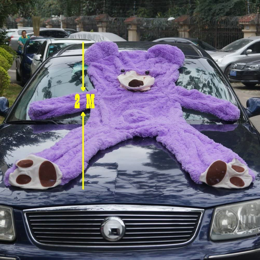 79 inch// 6.6 foot Life Size Huge Plush Teddy Bear Unstuffed Soft Giant Animal Toy DIY Purple Bear for Valentines Day Birthday Gifts Sealing with the Zipper at Shells Back Only Cover
