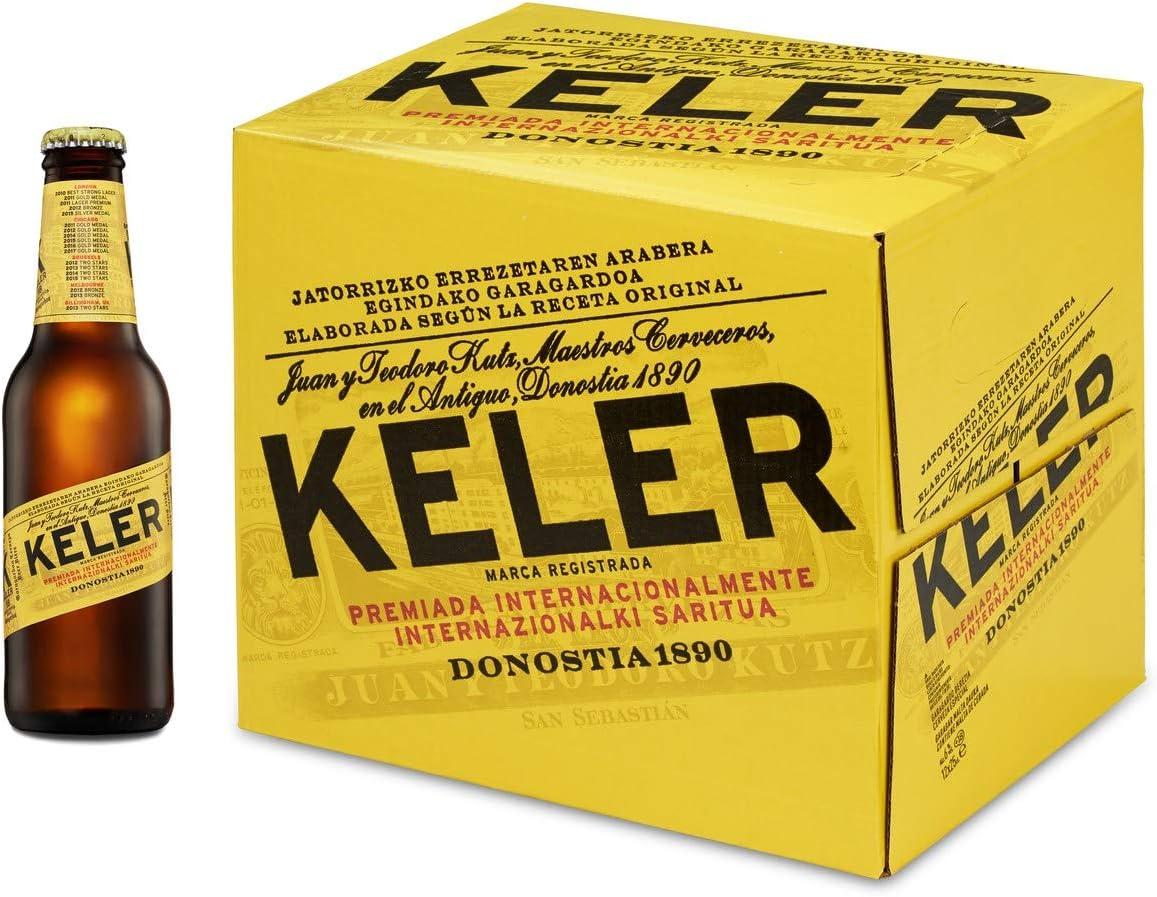 Keler Cerveza, Caja de 12 Botellas 25cl Cerveza de Donostia, San Sebastián, Origen País Vasco, Premiada Internacionalmente, en Botellín: Amazon.es: Alimentación y bebidas