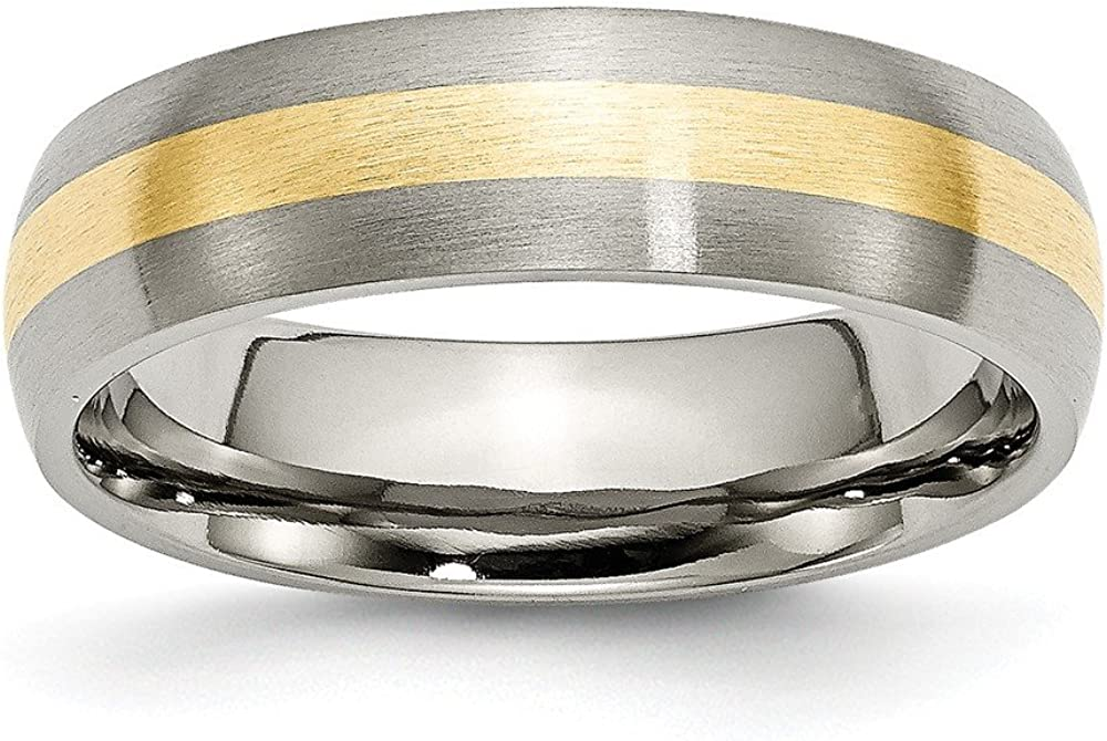 Titanium 14k Yellow Inlay 6mm Brushed Band Size 11 Length Width 6