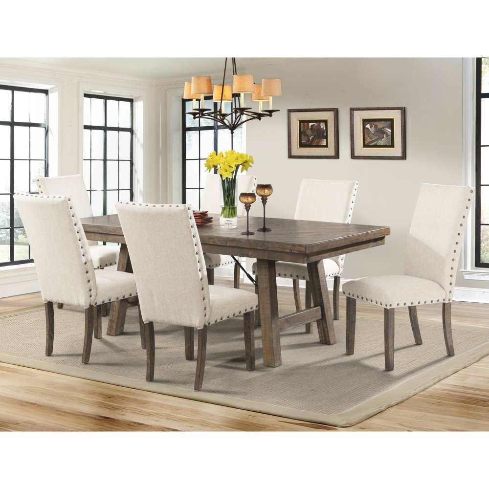 Amazon com picket house furnishings dex dining table rustic smokey walnut rubber wood tables