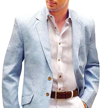 46d33560bcad INMONARCH Mens Slim fit Casual Sky Blue Linen Blazer Sport Jacket Coat Two  Button SB03L34 34