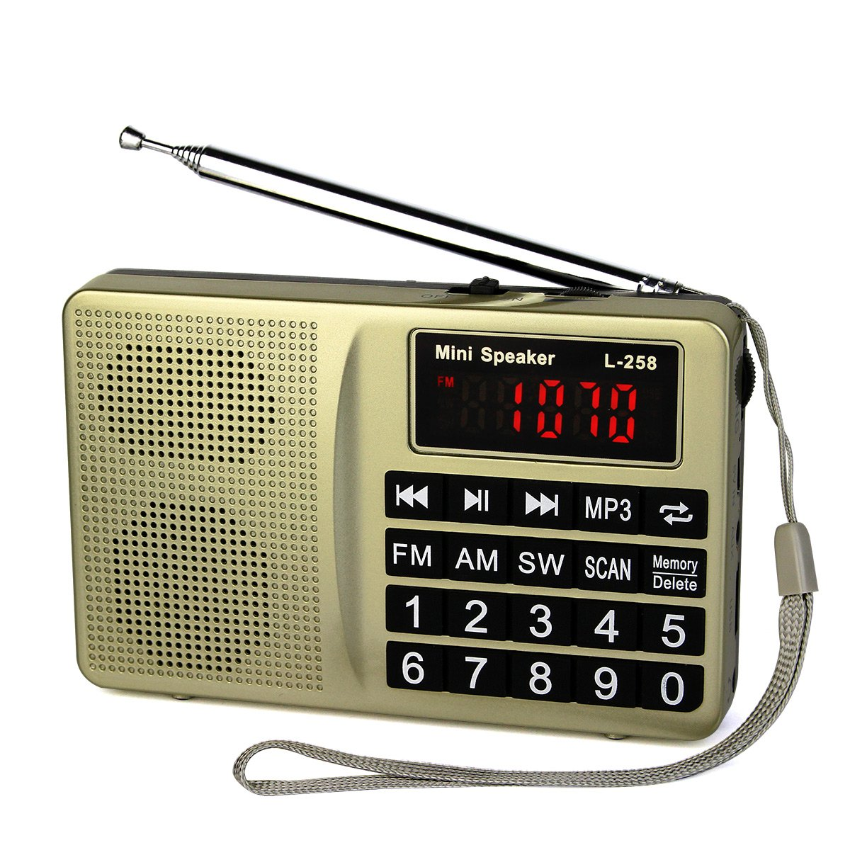 TIVDIO L-258 AM FM Shortwave Transistor Radio Support Micro TF Card and USB Driver AUX Input MP3 Player USB Charging Cable 1000MAH Rechargeable Li-ion Battery(Gold)