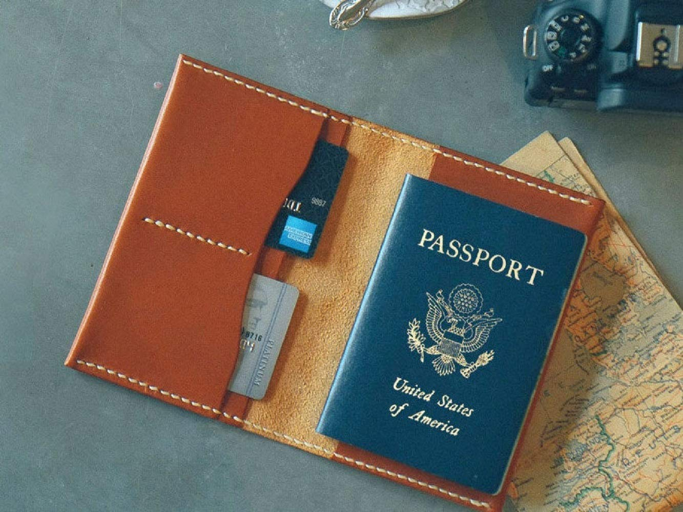 Custom Leather Passport Wallet Case Cover