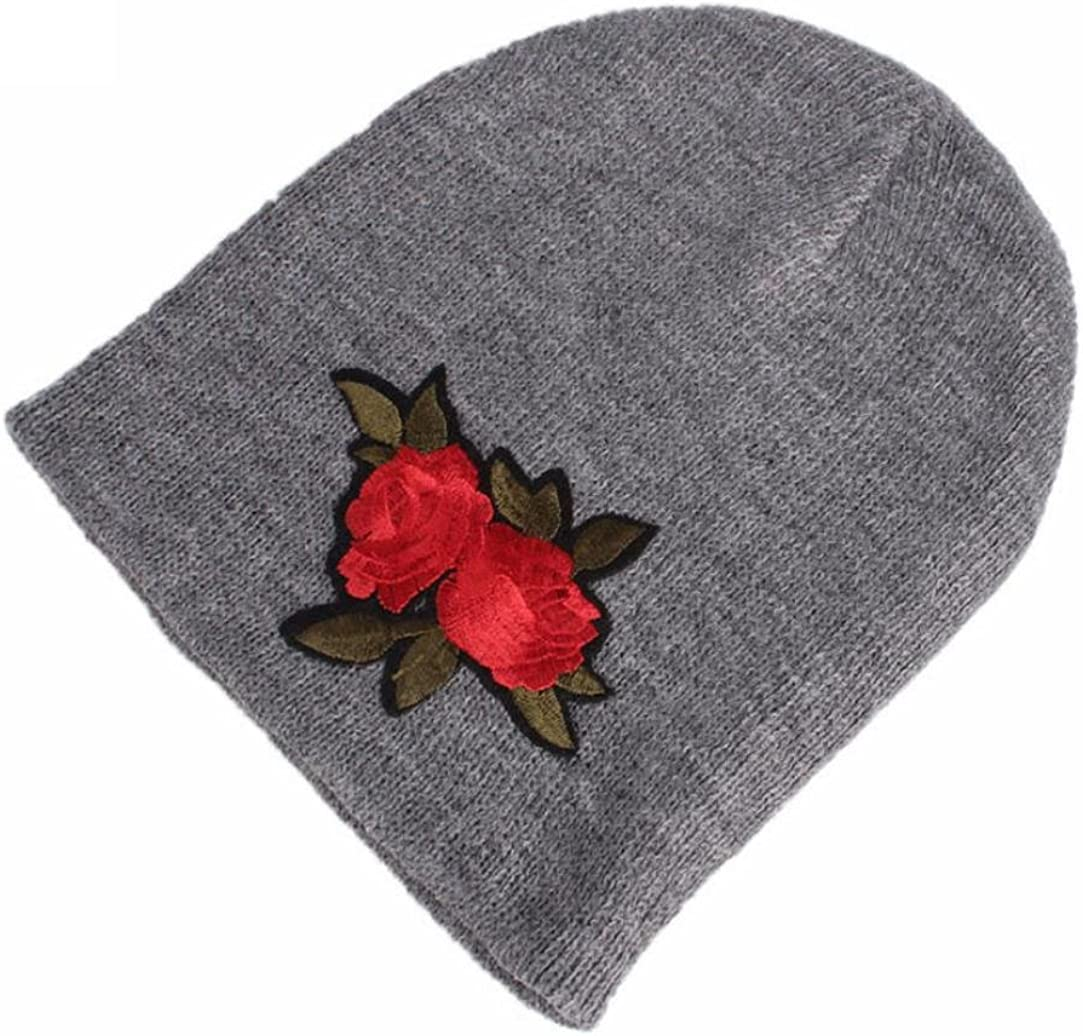 LNGRY Baby Girls Winter Knitting Hat Warm Hat Pile Cap Flower Embroidery Cap