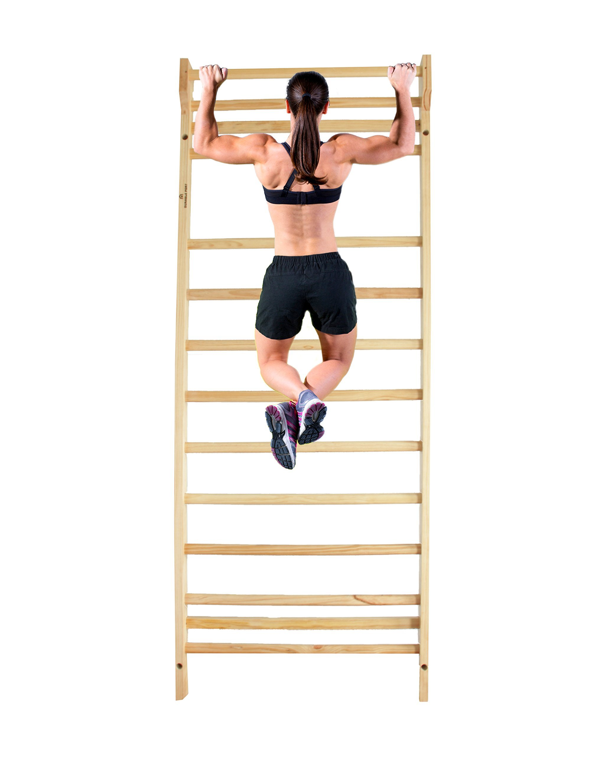 Durable Port Wood Stall Bar - Swedish Ladder with 12 Rods for Physical Therapy, Workout & Training Range of Motion Exercises - Sturdy & Solid - Ideal for Homes, Clinics, Gyms, and Hospitals