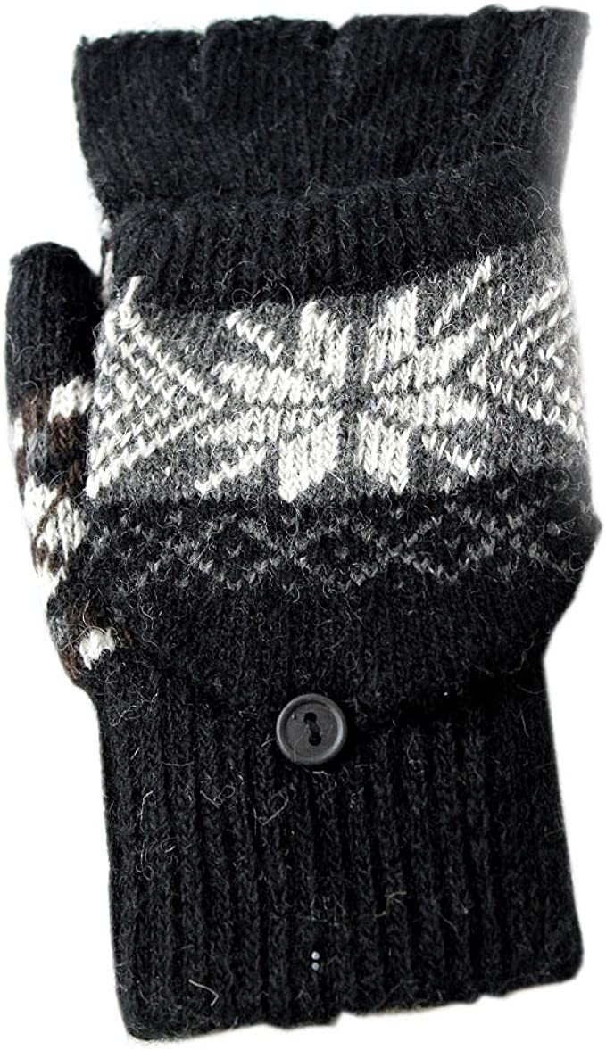 Unisex Black Snowflake Combination Gloves//Mittens with Grey Fair-Isle Pattern