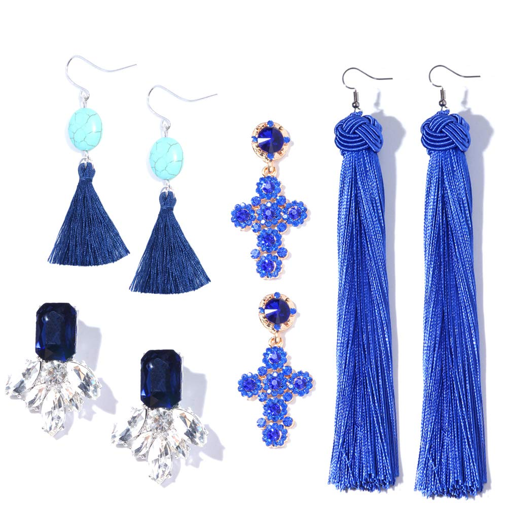 Othink Royal Blue Tassel Drop Earrings for Women