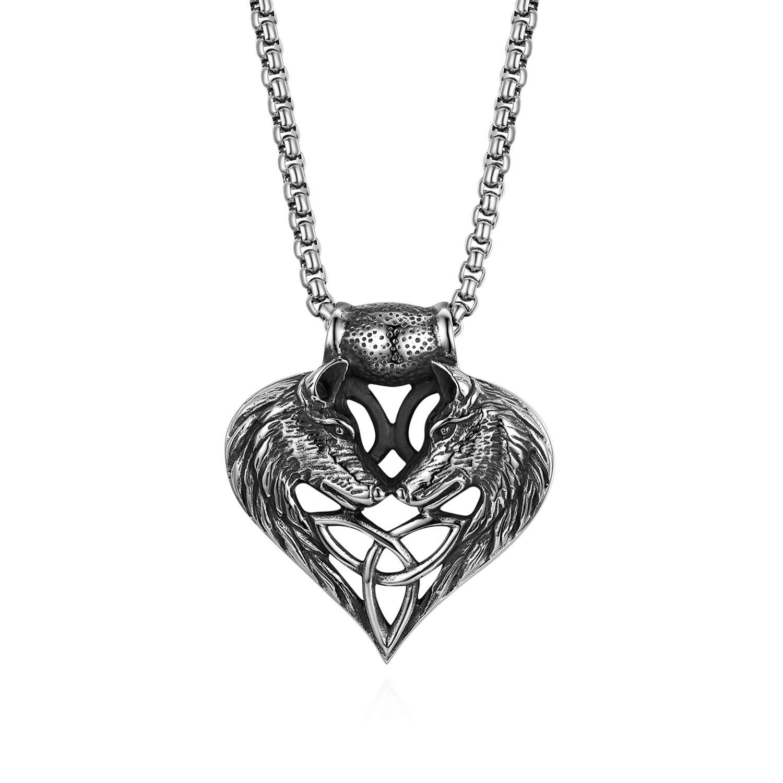 Oidea Edelstahl Herren Herz Anhä nger Halskette, doppel Wolf Kopf mit 56cm Kette, schwarz Silber O0220001