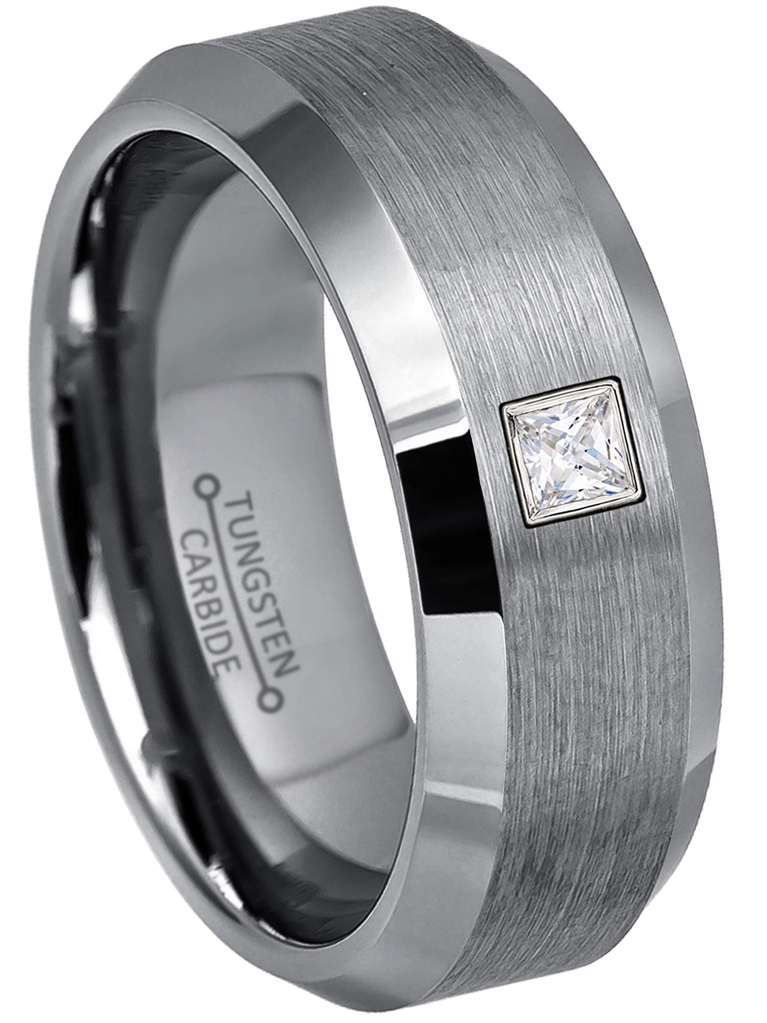0.10ctw Solitaire Princess Cut Diamond Tungsten Ring - 8MM Brushed Beveled Edge Tungsten Carbide Wedding Band - April Birthstone Ring - s12.5
