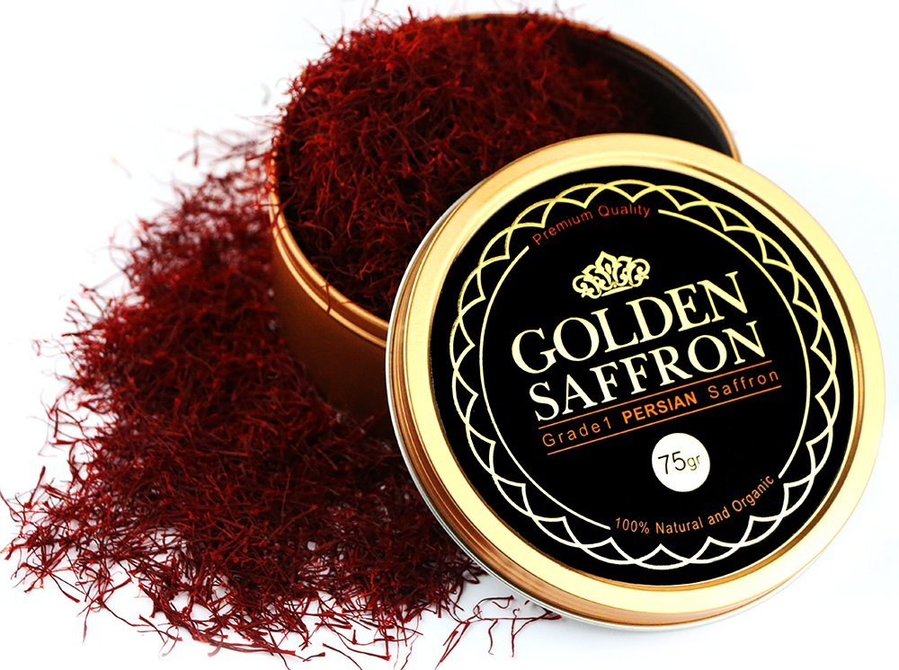 Golden Saffron, Finest Premium Persian All Red Saffron, Grade A+, Highest Grade 75 Grams (2.69 OZ)
