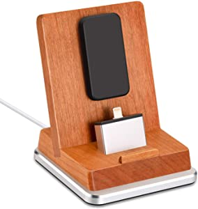 Rerii iPhone Charger Dock, Cherry Wood iPhone Docking Station Charger Stand with Aluminum Base for All Versions of iPhone with Lightning Plug and iPhone Mini